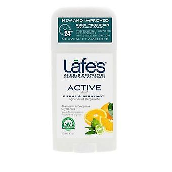 Lafes Natural Body Care Twist Stick Deodorant Active, 2.5 Oz