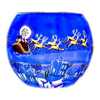 Milford Collection Here Comes Santa Tealight Holder Light Glass