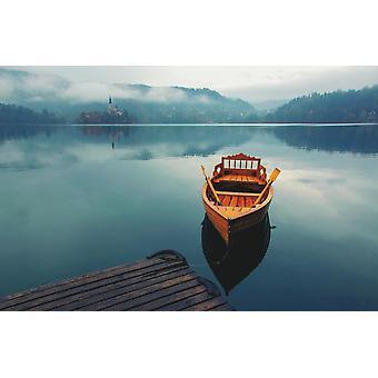Taustakuva seinämaalaus yksinäinen vene (400x260 cm)