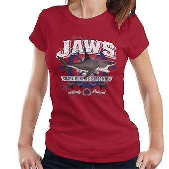 Jaws Shark Jakt Expedition Amity Island Kvinnor & apos; s T-shirt