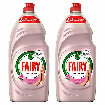 Fairy 2in1 Washing Up Liquid, Clean & Care, Rose & Satin, 820ml - 2 pack