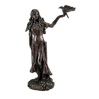 Morrigan Celtic Goddess of Battle Holding Crow and Sword Bronze Finish Statue