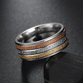 Punk Titanium Steel Roman Numeral Twist Chain Rings - Polished Punk Wedding