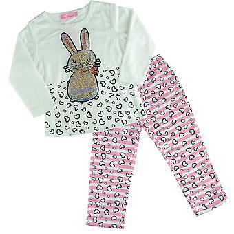 menina pijama Coelhinho suéter de manga comprida combi pijamas duas peças criança