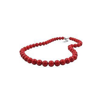 halskjede mørk rød marmorert perler 12mm 55cm