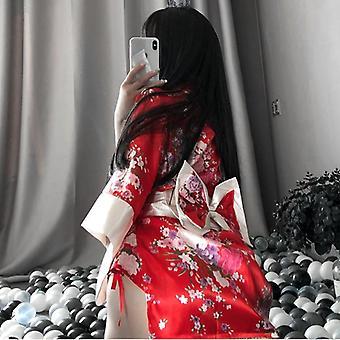 Uniform Robe Floral Bathrobe Short Kimono Robe Night Bathrobe Fashion Dressing