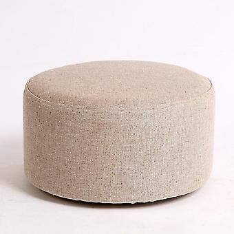 Natural Cotton Linen Solid Wood Board/kids Round Low Stoo,l Washable, Soft  &