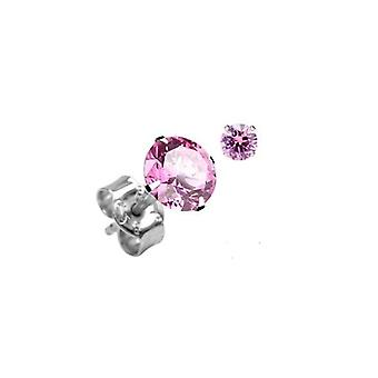 Sterling Silver Unisex Studs Earrings 2 Carat Swarovski Crystal - Rose Pink
