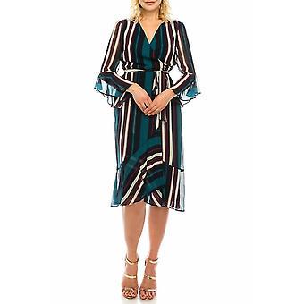 Siniraitainen faux wrap mekko