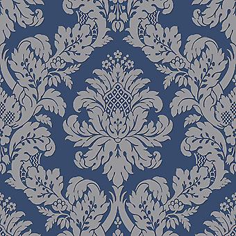 Pear Tree Navy Glitter Damask
