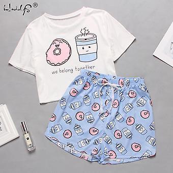 Cute Cartoon Print Short T-shirts & Shorts Set Pajamas