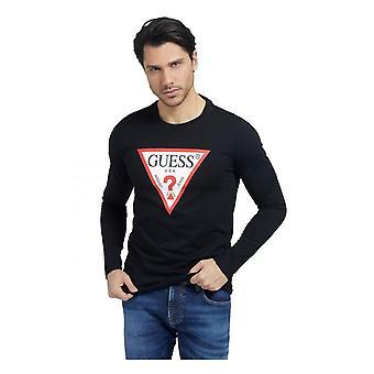 GJETT Menns Trekant Logo Langermet Organisk T-skjorte Jet Svart