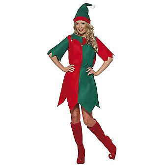 Smiffys women's elf costume, hat and tunic, multicolored (red/ green), small