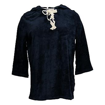 Nogen Kvinder & apos;s Baby Terry Lace-Up Hoodie Navy Blue A354748