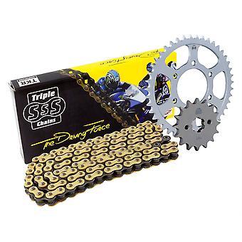 Triple S O-Ring 525 Guldkedja och kedjesats kit 15T / 37T kompatibel med Ducati Monster 916 S4 Set 2001-03