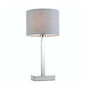 Norton Cylinder Table Lamp In Steel, Chrome Plate And Gray Fabric