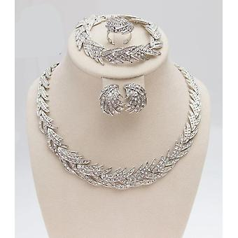 Leaves Shape Silver Plated Clear Crystal Jewelry