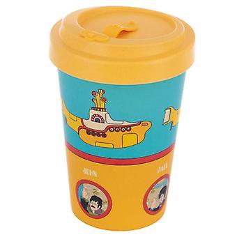 Bambu composto amarelo submarino azul e amarelo parafuso top caneca de viagem
