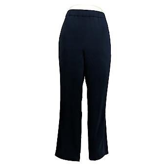 Susan Graver Women's Petite Pants Woven Essentials Trekken Op Blauw A366168