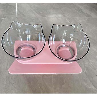 Kat dobbelt skål med hævet stand cat skål hundeskål skridsikker dyrefoder og vand