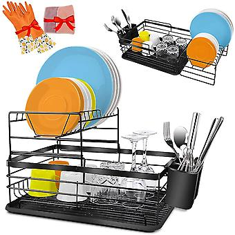 2-Tier Dish Drying Rack with Drainboard,Stainless Steel Dish Rack with Drainer Tray/Utensil Holder