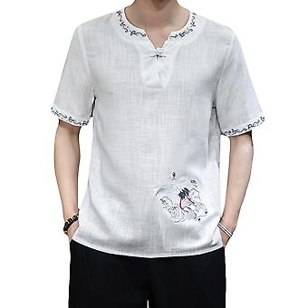Swotgdoby Men's Chinese Style V-neck Disc Button Crane Embroidery T-shirt