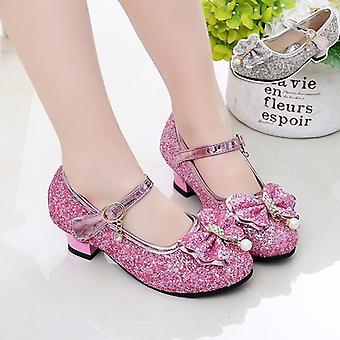 Sapatos de couro infantil Vestido de Noiva Elsa Princesa Bowtie Dança para Sandálias Planas