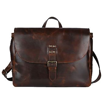 Ashwood Leather Callum Briefcase Messenger Bag - Copper Brown