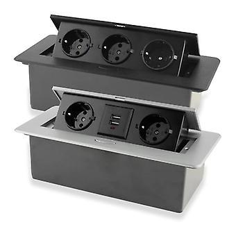 Desktop Socket Table Outlet De Eu Fr With Usb Charging Slow Pop Up Aluminum