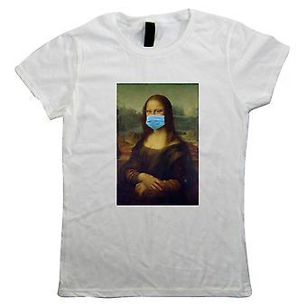 Máscara facial de Mona Lisa, camiseta feminina - clássico arte pandemia pintura presente seu