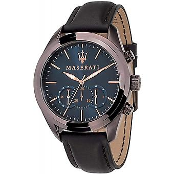 Maserati R8871612008 Men's Brown Strap Traguardo Chronograph Wristwatch