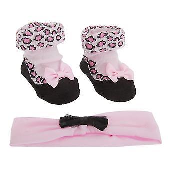 Bebé niñas leopardo medias y elástico de la venda (2 pedazos fijados de regalo)