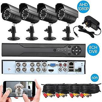 8CH biztonsági kamera rendszer teljes 1080P video DVR felvevő 4 * 1080P beltéri kültéri időjárásálló CCTV kamerák