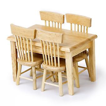 Dollhouse مصغرة طاولة الطعام كرسي الأثاث الخشبي مجموعة