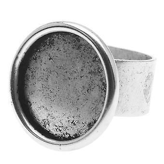 Nunn Design Antiqued Silver Plad Pewter Large 18mm Bezel Round Adjustable Ring