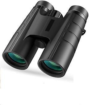 Kompakt, kraftfull, professionell, 10X42 HD-kikare, BAK4 Prism FMC helt flerskiktslinser, för fågelskådning och teater, med smartphoneadapter (svart)