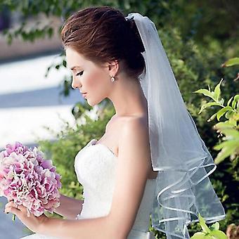 قصيرة تول الزفاف الحجاب، طبقتين مع مشط الحجاب الزفاف رخيصة