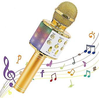 Altın kablosuz-karaoke mikrofon bluetooth el tipi, taşınabilir hoparlör ev az9160