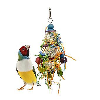 ציפור תוכי צעצוע ראטן כדור תוכי ציור צעצוע אקריליק