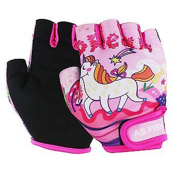 1 pár cyklistické rukavice deti polovičný prst rukavice Športové Telocvičňa Protišmykové ochranné rukavice pre deti vonku (ružový unicorn vzor, veľkosť Xs)