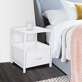 Holz Weißer Nachttisch mit Schublade