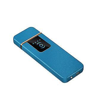 USB נטען מסך מגע בהיר יותר עמיד לרוח ללא להבה (כחול)