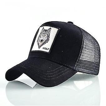 القطن المطرزة الحيوان قبعة البيسبول (الذئب الأسود)