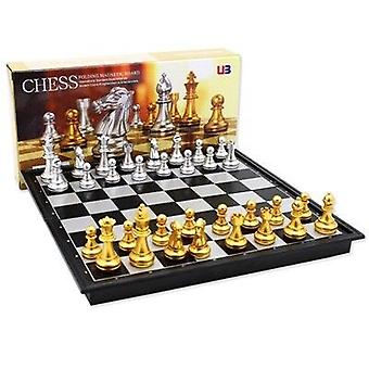 Middeleeuwse het vouwen klassieke schaakreeks met schaakbord 32 stukken gouden zilveren magnetisch schaak draagbare reisspelen voor volwassenen jong geitjestuk speelgoed