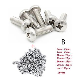 Screws 250pc/set a2 stainless steel m3 cap/button/flat head screws sets phillips hex socket bolt with hex nuts assortment kit mayitr