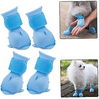 4pcs Waterproof Non-slip Pet Rain Boots S Blue Dog Shoe Claw Rubber Rain Cover