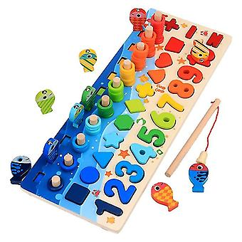Kids Educational Wooden Fishing Puzzle Board (ensemble complet)