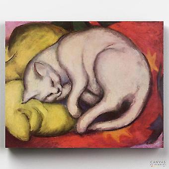 חתול על כרית צהובה - פרנץ מארק