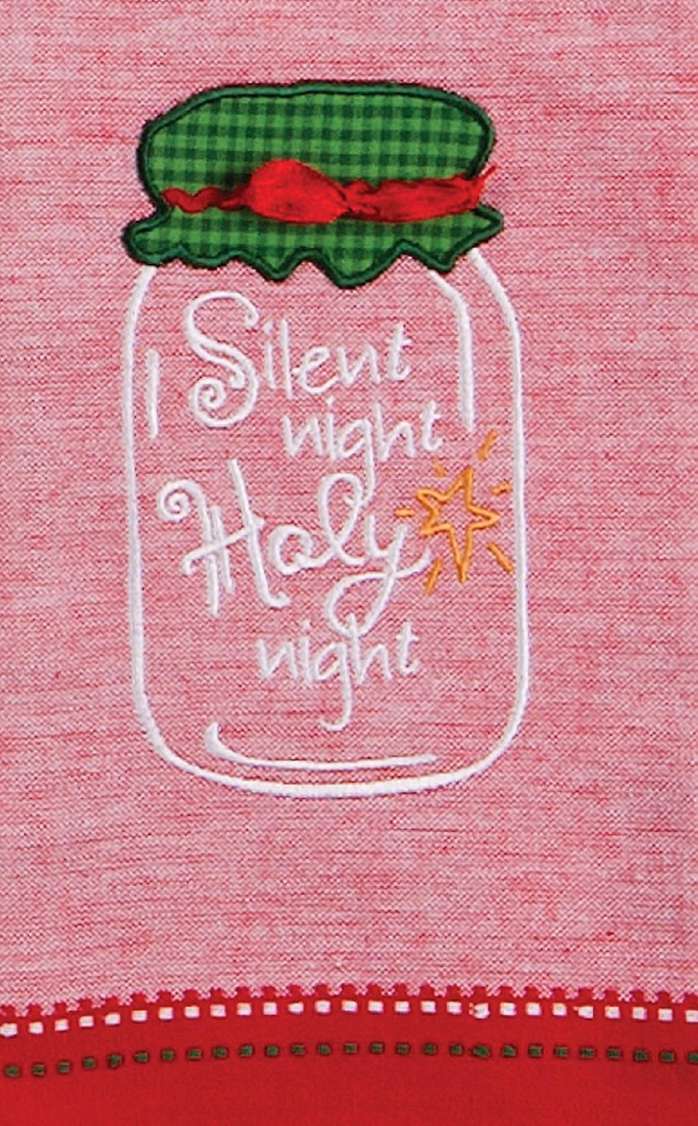 Silent Night Mason Jar Embroidered 28 Inch Holiday Kitchen Tea Towel Kay Dee