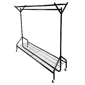5ft Länge x 5ft schwarz schwere Pflicht hängende Kleidungsstück Kleiderstange mit Rack Schuhregal und Hat Stand